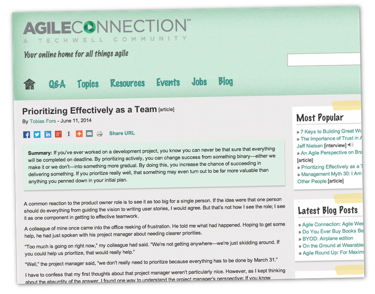 Prioritizing Effectively as a Team on Agileconnection.com